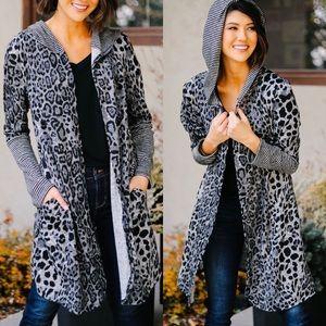 Dark Spot Leopard Hooded Cardigan
